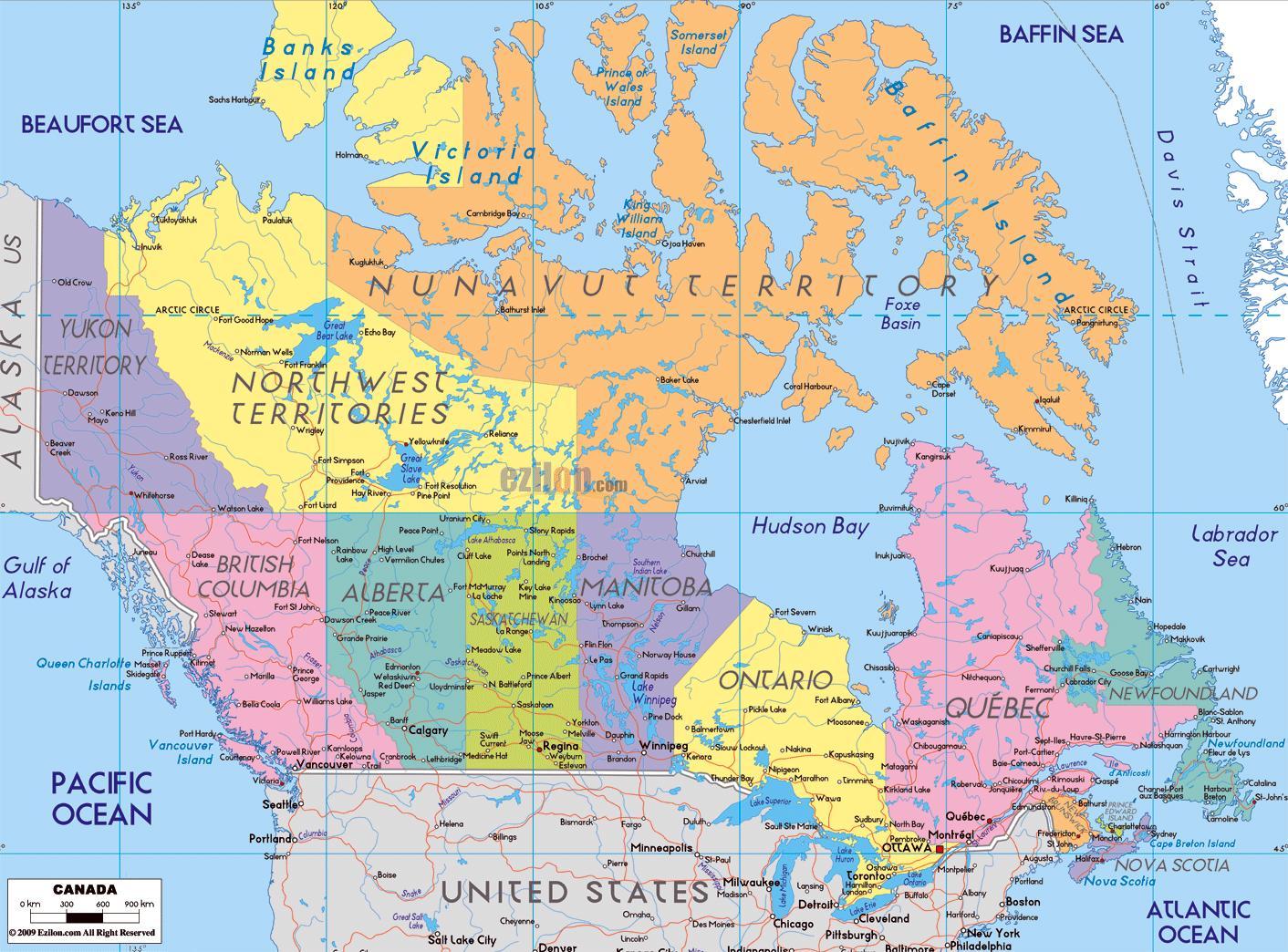 Kanada Mapa Sa Grad Imena Detaljne Mapu Kanade Sa Gradovima